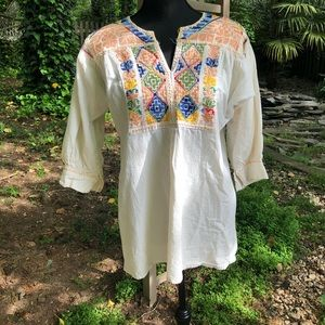 No name creme boho embroidered blouse